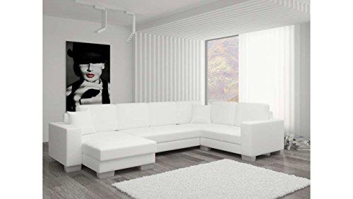 JUSTyou Marco I Wohnlandschaft Couchgarnitur Polsterecke Kunstleder (BxLxH): 145-206x303x86 cm Weiß Ottomane links