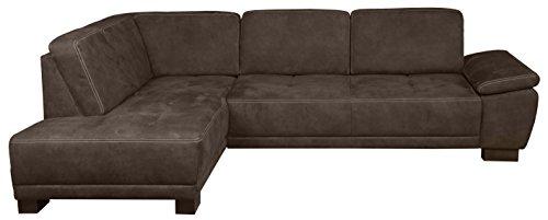 Cavadore Eckcouch Cytaro in Wildlederoptik und Kontrastnaht / Couch L-Form mit Ottomanen links / Inkl. verstellbarer Sitztiefe und Armlehne / Größe: 281 x 84 x 218 cm (BxHxT) / Farbe: Braun