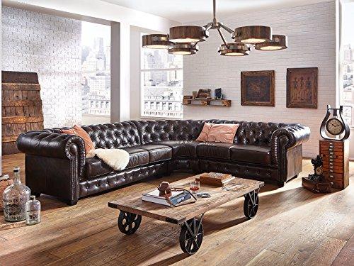 Massivum Chesterfield Sofa Modul 2-Sitzer AL links Zusammensetzbar, Leder, braun, 95 x 142 x 79 cm