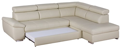 Cavadore 5017 Polsterecke Cattwolk 3-Sitzer mit Bett und Kopfteilverstellung links, Ottomane mit Kopfteilverstellung rechts, Punch mit Poroflex Softy, 272 x 79 x 215 cm, altweiß