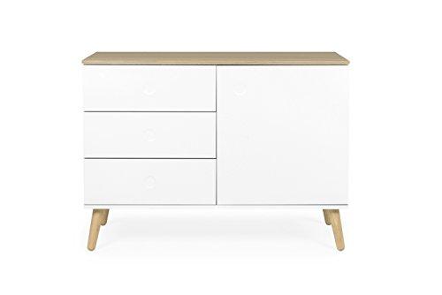 Tenzo 1674-454 Dot Designer Sideboard Holz, weiß / eiche, 43 x 109 x 79 cm