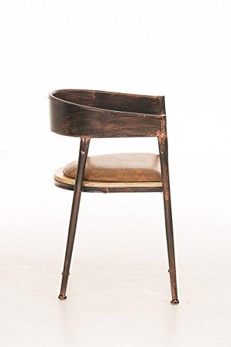 CLP Industrial Design-Stuhl BELVEDERE, gepolstert, mit Lehne, mit Armlehne, 4 Beine, Material Holz Metall, Sitzhöhe 48 cm Bronze