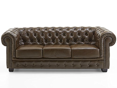 Echt Leder Sofa Chesterfield 3-Sitzer antik braun Couch Exclusive