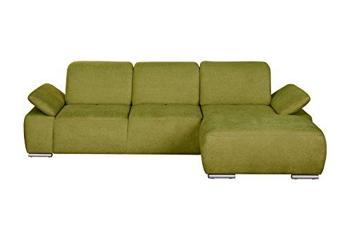 Cavadore Polsterecke Tabagos / Eck-Sofa mit Longchair rechts / Modernes Sofa / Sitztiefenverstellung/ Armteilfunktion / 283x85x187 (B x H x T) /Farbe: Grün