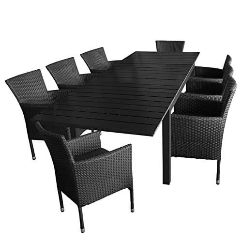 9tlg-Gartengarnitur-Aluminium-Ausziehtisch-160210260x95cm-mit-Polywood-Tischplatte-8x-Polyrattan-Gartensessel-mit-Sitzkissen-Gartenstuhl-stapelbar-Terrassenmbel-Gartenmbel-0