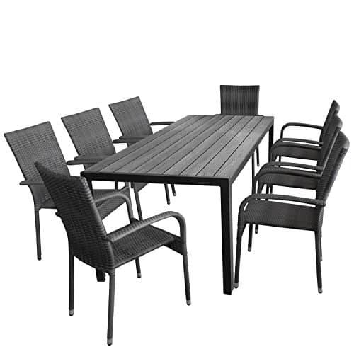 9tlg-Gartengarnitur-Aluminium-Gartentisch-Tischplatte-Polywood-205x90cm-8x-Rattanstuhl-stapelbar-Bespannung-Polyrattan-nordic-grey-Gartenmbel-Set-Sitzgarnitur-Sitzgruppe-0
