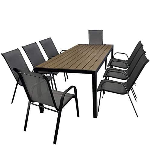 9tlg-Gartengarnitur-Aluminium-Gartentisch-Tischplatte-Polywood-Braun-205x90cm-8x-Stapelstuhl-Textilenbespannung-in-Grau-Gartenmbel-Set-Sitzgarnitur-Sitzgruppe-0