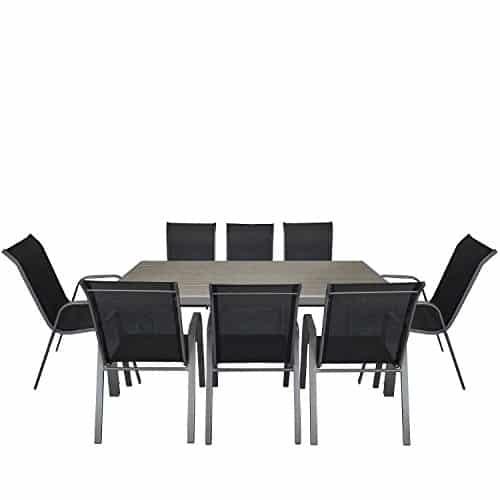 9tlg gartengarnitur aluminium polywood gartentisch 205x90cm stapelbarer gartenstuhl stapelstuhl. Black Bedroom Furniture Sets. Home Design Ideas
