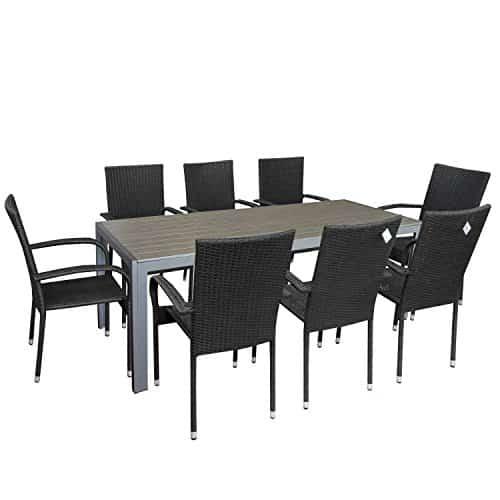 9tlg-Gartengarnitur-Gartenmbel-Set-Gartentisch-mit-Polywood-Tischplatte-205x90cm-stapelbare-Rattansessel-Stapelstuhl-Polyrattan-Sitzgarnitur-Sitzgruppe-Terrassenmbel-Gartenmbel-0