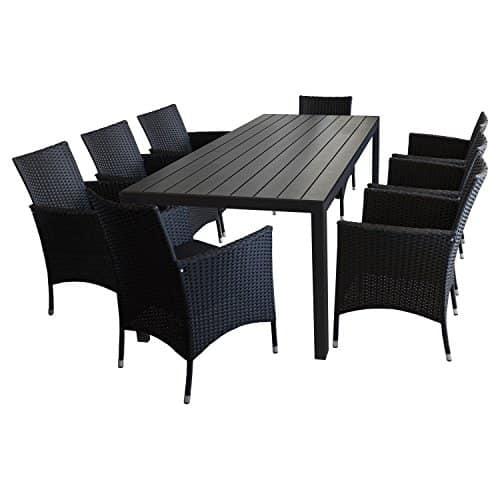 9tlg-Gartengarnitur-Gartenmbel-Set-Sitzgruppe-Gartentisch-Polywood-Tischplatte-Schwarz-205x90cm-8x-Rattansessel-Polyrattanbespannung-Schwarz-inkl-Sitzpolster-Terrassenmbel-Sitzgarnitur-0