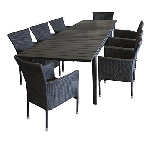 9tlg-Gartengarnitur-Gartentisch-Polywood-ausziehbar-220280x95cm-Schwarz-8x-stapelbare-Polyrattan-Sessel-Schwarz-Sitzgruppe-Sitzgarnitur-Gartenmbel-Balkonmbel-Set-0