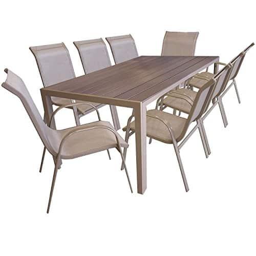 9tlg-Gartengarnitur-Sitzgruppe-Gartenmbel-Set-Aluminium-Gartentisch-mit-Polywood-Tischplatte-205x90cm-Stapelstuhl-pulverbeschichtet-mit-Textilenbespannung-Champagner-0