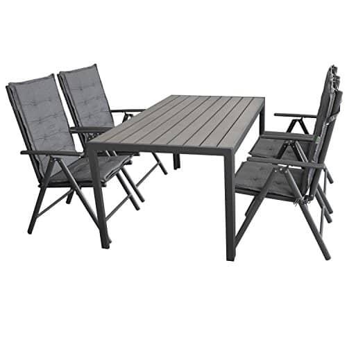 9tlg-Gartengarnitur-Sitzgruppe-Sitzgarnitur-Gartenmbel-Terrassenmbel-Set-Polywood-150x90cm-grau-4x-Hochlehner-2x2-Textilenbespannung-Lehne-7-fach-verstellbar-4x-Stuhlauflage-0