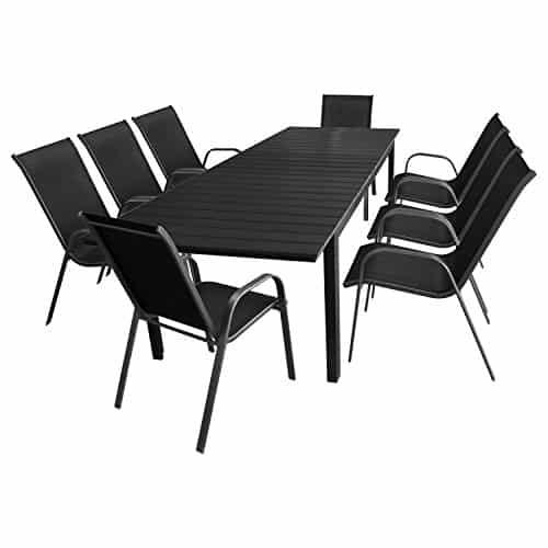 9tlg-Gartengarnitur-Sitzgruppe-Terrassenmbel-Gartenmbel-Set-Gartentisch-Polywood-Tischplatte-schwarz-ausziehbar-200250300x95cm-8x-Stapelstuhl-Textilenbespannung-AnthrazitSchwarz-0