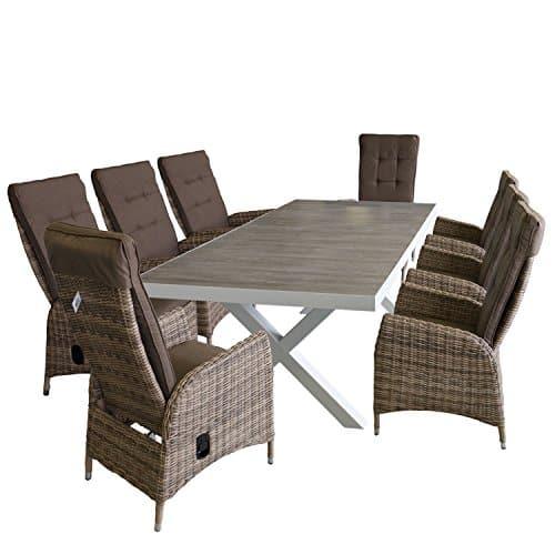 9tlg-Gartenmbel-Set-Alu-Gartentisch-mit-Steingut-Tischplatte-in-Grau-204x100cm-Rattansessel-mit-stufenlos-verstellbarer-Rckenlehne-Braun-meliert-inkl-Sitzauflagen-0