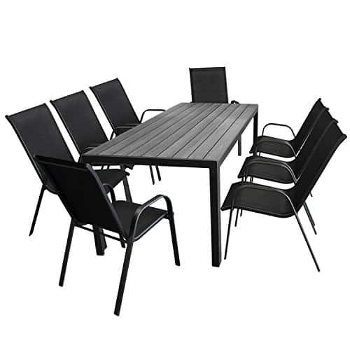 9tlg-Gartenmbel-Set-Aluminium-Gartentisch-Tischplatte-Polywood-in-Grau-205x90cm-8x-Stapelstuhl-Textilenbespannung-in-Schwarz-Gartenmbel-Set-Sitzgarnitur-Sitzgruppe-0