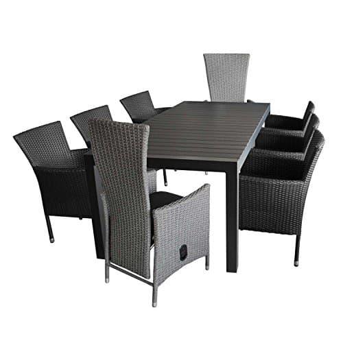 9tlg gartenm bel set aluminium polywood ausziehtisch 224. Black Bedroom Furniture Sets. Home Design Ideas