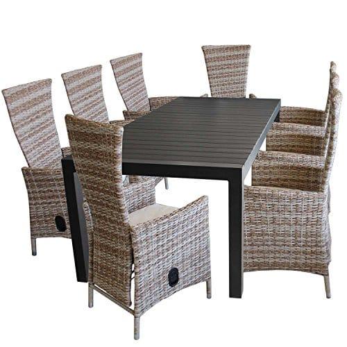 9tlg-Gartenmbel-Set-Aluminium-Polywood-Ausziehtisch-224284344x100cm-8x-Gartensessel-Polyrattan-inkl-Kissen-Nature-Terrassenmbel-Sitzgruppe-Sitzgarnitur-Gartengarnitur-0