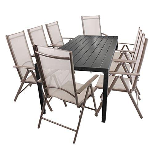 9tlg-Gartenmbel-Set-Aluminium-PolywoodNon-Wood-Gartentisch-205x90cm-Schwarz-8x-Hochlehner-7-Positionen-klappbar-mit-Textilenbespannung-Champagner-Sitzgarnitur-0