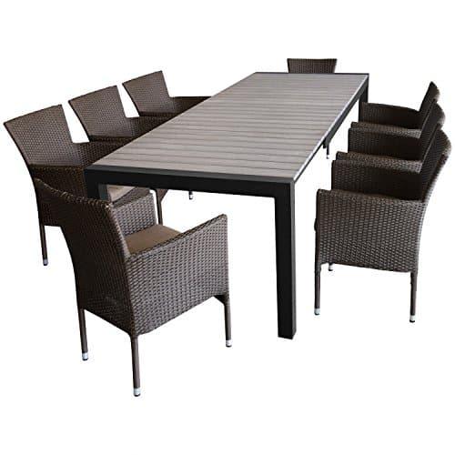 9tlg gartenm bel set gartengarnitur sitzgruppe ausziehtisch polywood tischplatte in. Black Bedroom Furniture Sets. Home Design Ideas