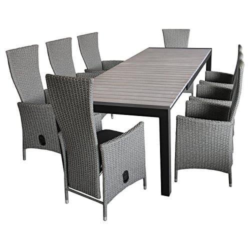 9tlg-Gartenmbel-Terrassenmbel-Set-Sitzgarnitur-Gartengarnitur-Sitzgruppe-Ausziehtisch-Polywood-205275x100cm-8x-Polyrattan-Gartensessel-Rckenlehne-stufenlos-verstellbar-Sitzkissen-0