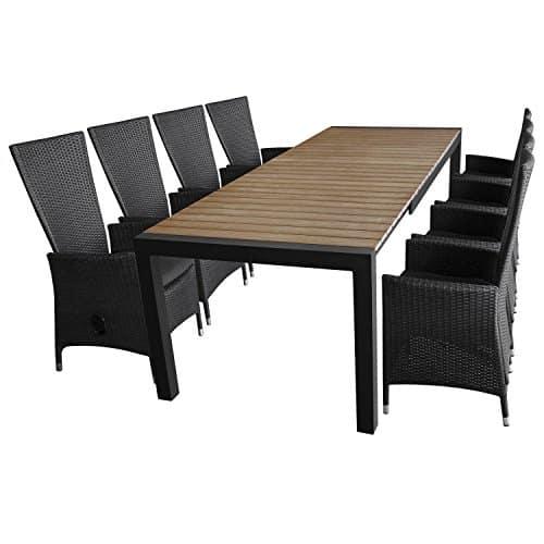 9tlg-Gartenmbel-Terrassenmbel-Set-Sitzgarnitur-Sitzgruppe-Gartengarnitur-Ausziehtisch-Polywood-205275x100cm-8x-Poly-Rattan-Gartensessel-stufenlos-verstellbar-schwarz-Kissen-0