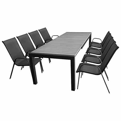 9tlg-Gartenmbel-Terrassenmbel-Set-Sitzgarnitur-Sitzgruppe-Gartengarnitur-XXL-Ausziehtisch-Polywood-224284344x100cm-8x-Stapelstuhl-Schwarz-Anthrazit-0