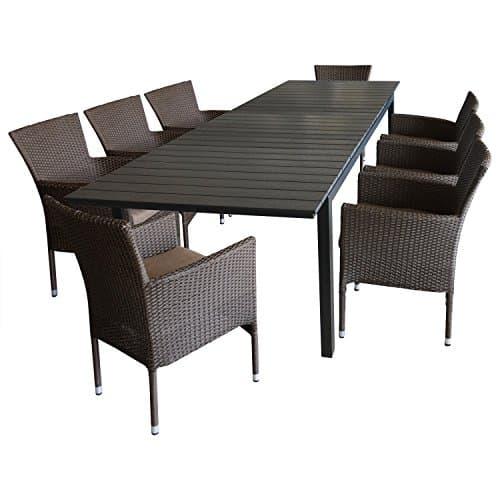9tlg-Gartenmbel-Terrassenmbel-Set-Sitzgruppe-Gartengarnitur-Sitzgarnitur-Ausziehtisch-Polywood-Tischplatte-280220x95cm-schwarz-8x-Poly-Rattan-Gartensessel-braun-meliert-inkl-Sitzpolster-0