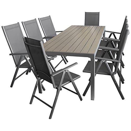 9tlg-Sitzgarnitur-Sitzgruppe-Gartengarnitur-Gartenmbel-Terrassenmbel-Set-Aluminium-Polywood-Tisch-205x90cm-8x-Hochlehner-2x2-Textilen-0