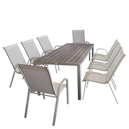 9tlg-Sitzgarnitur-Sitzgruppe-Gartenmbel-Set-mit-Aluminiumtisch-mit-Polywood-Tischplatte-205x90cm-8x-Stapelstuhl-pulverbeschichtet-mit-Textilenbespannung-Gartengarnitur-Balkonmbel-champagnerfarben-0