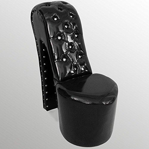 A-93-High-Heel-Sessel-Lack-Leder-Moderner-Designer-Schuhsessel-Stuhl-Neu-OVP-Sofort-Lieferbar-SCHWARZ-STRASSSTEINE-0