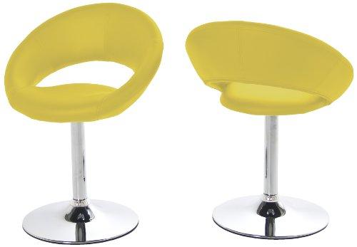 AC Design Furniture 48708 Esszimmerstuhl 2-er Set Thilde, drehbar, Kunstleder gelb