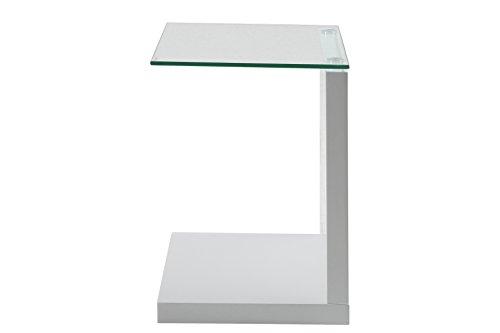 AC-Design-Furniture-49008-Beistelltisch-Michel-Klarglas-ca-40-x-50-x-35-cm-wei-hochglanz-0
