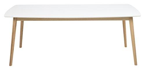 AC Design Furniture 60737 Esstisch Pernille vorbereitet für Zusatzplatten, 180 x 90 cm, Tischplatte aus Holz lackiert, weiß