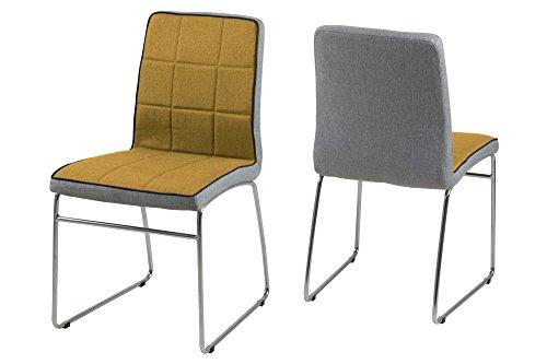 AC Design Furniture 63578 Stuhl Ryan 4-er Set curry, Rücken hellgrau, Keder schwarz