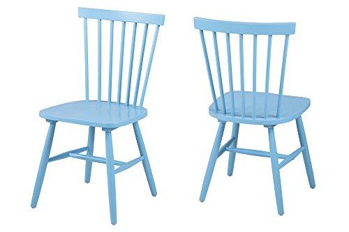 AC Design Furniture 63659 Esszimmerstuhl Susanne, Rubberwood, 2-er Set, blau lackiert