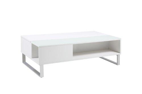 AC Design Furniture 63721 Couchtisch Nikolaj mit Liftfunktion und Stauraum, weißglas, ca. 110 x 35 x 60 cm, weiß hochglanz