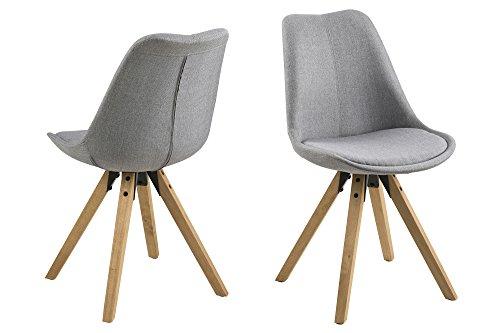 AC Design Furniture 63760 Esszimmerstuhl, Stoff, hellgrau, 42 x 44 x 85 cm