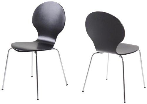 AC Design Furniture H000007178 Esszimmerstuhl 4-er Set Jacob, Design Klassiker, schwarz