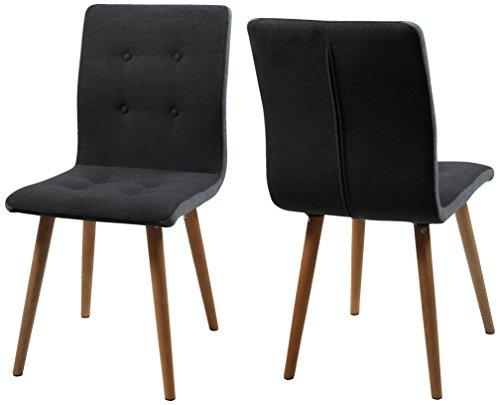 AC Design Furniture H000014094 Esszimmerstuhl 2-er Set Charlotte, Sitz/Rücken Seiten hellgrau, Knöpfen und Stoff, dunkelgrau