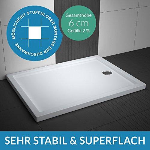AQUABAD® Duschwanne Comfort Villa Flat 90x160cm Superflach Rechteck - Ablauf kurze Seite (90 cm) mittig