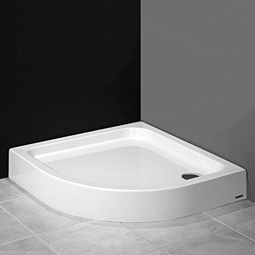 AQUABAD® Duschwanne/Duschtasse mit Styroporträger, Viertelkreis R55 90x90x17 cm, integrierte Acrylschürze