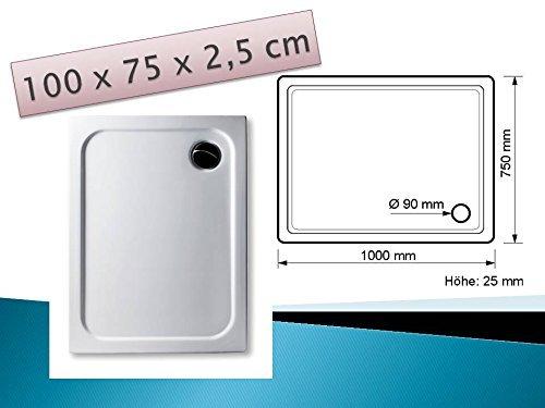 Acryl Duschwanne 100 x 75 cm superflach rechteckig weiß Dusche / Duschtasse / Brausewanne