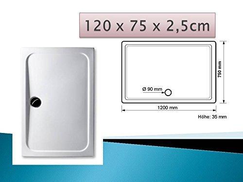 Acryl Duschwanne 120 x 75 cm superflach rechteckig weiß Dusche / Duschtasse / Brausewanne