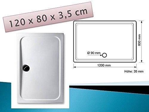 Acryl Duschwanne 120 x 80 cm superflach rechteckig weiß Dusche / Duschtasse / Brausewanne