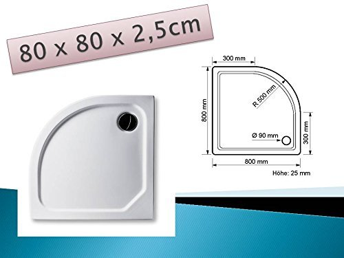 acryl duschwanne 80 x 80 cm superflach viertelkreis radius 50 wei dusche duschtasse. Black Bedroom Furniture Sets. Home Design Ideas