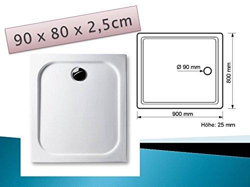 Acryl Duschwanne 90 x 80 cm superflach rechteckig weiß Dusche / Duschtasse / Brausewanne