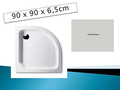 Acryl Duschwanne 90 x 90 cm Radius 55 Farbe: MANHATTAN flach Viertelkreis Dusche / Duschtasse / Brausewanne