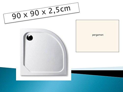 Acryl Duschwanne 90 x 90 cm Radius 55 Farbe: PERGAMON superflach Viertelkreis Dusche / Duschtasse / Brausewanne