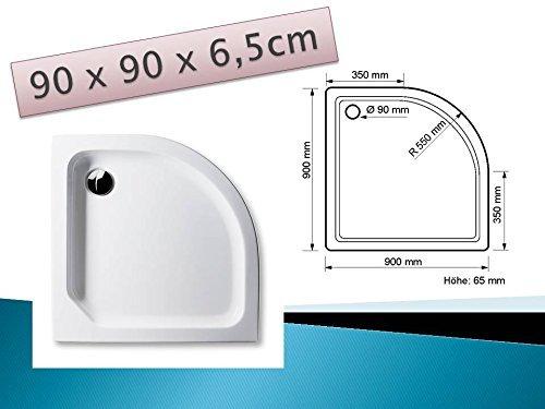 Acryl Duschwanne 90 x 90 cm flach Viertelkreis Radius 55, weiß Dusche / Duschtasse / Brausewanne